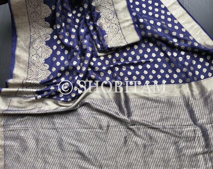 Moonga Silk Banarasi Saree in Navy Blue | Matt texture Moonga Silk Saree | Shobitam Saree