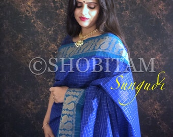 Sungudi Cotton Saree - Chettinadu Sungdi Saree| Checks saree | Beautiful Zari Sari!