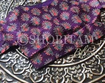 36/38 size Trendy Blouse: Readymade Saree blouse | Purple Printed Blouse | Mix and Match blouse | Crop Top | Blouse for Saree