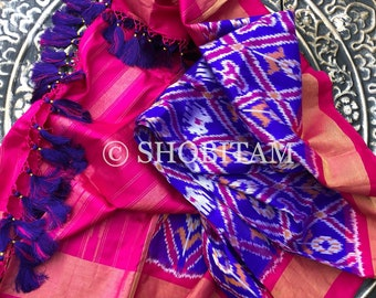 Pure Silk Dupatta in purple with  Rani pink borders and designer tassels| SILK MARK CERTIFIED Ikkat Dupatta | Pochampalli Dupatta