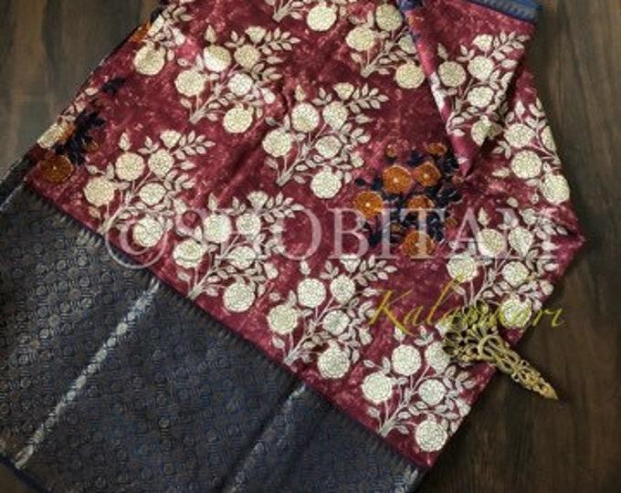Dark Red Kalamkari Print with Antique Kanchi border on Chanderi Cotton Silk | Statement Chanderi Saree | Fancy Saree | Shobitam Saree