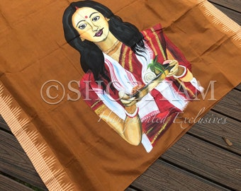 Lady with Pujo thali | Statement Handpainted Saree  | Grand Bengali Saree | Shobitam Exclusive Saree