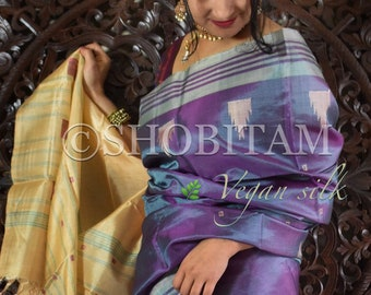 Vegan Silk Saree in Dual tone lavendar blue ! Pretty Sari! shobitam saree