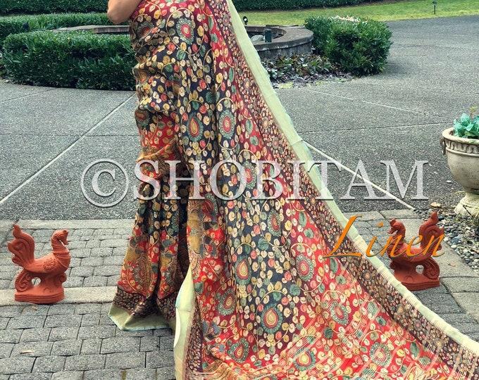 Kalamkari Digital Print Saree on Linen by Linen  with woven zari border | Designer Kalamkari Saree | Beautiful Sari | Shobitam Saree
