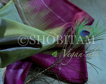 Vegan Silk Saree in green and purple gold  ! Pretty Sari! Shobitam Saree