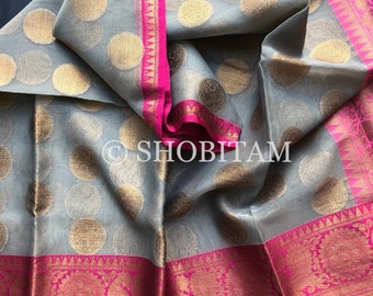 Gray with Pink Peacock Zari Border  Banarasi Organza Saree | Shobitam Saree