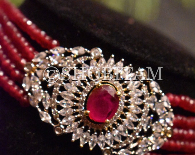 Indian Necklace: Choker set in dark red crystals and CZ stones  I Bridal Jewelry I  Statement necklace I Indian Jewelry | Shobitam Jewelry