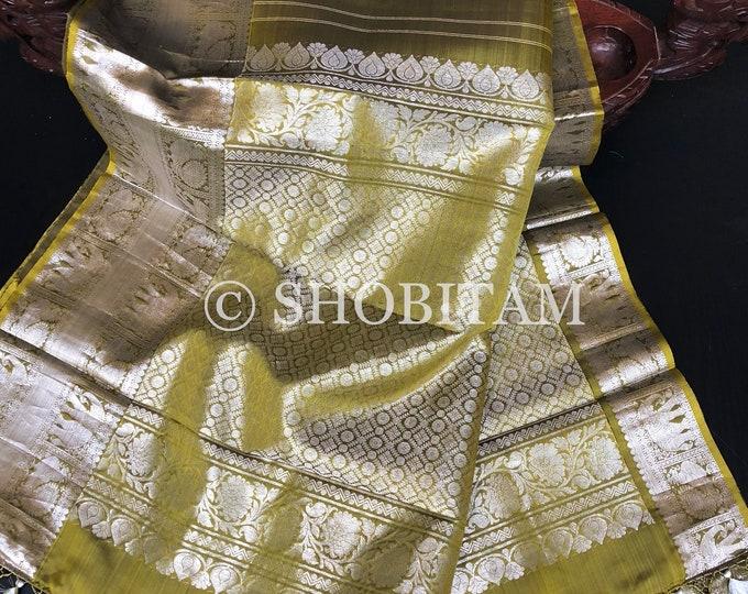 Kanchipuram Silk Saree in Dual Tone Moss Green with Silver Tone Zari     SILK MARK CERTIFIED    Kanjivaram Saree  Shobitam Saree