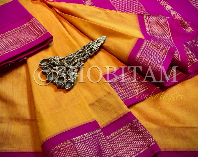 Mango Yellow with pink Venkatagiri Cotton Silk Saree  | Pretty Saree | Shobitam Saree