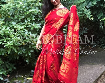 Padmini Cotton Red Mekhela Chador  | Assamese style saree | grand ethnic outfit | Stylish dress | Designer handloom saree!