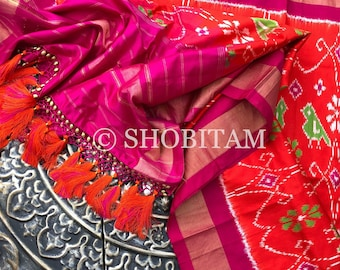 Pure Silk Dupatta in Scarlet with  Rani pink borders and designer tassels| SILK MARK CERTIFIED Ikkat Dupatta | Pochampalli Dupatta