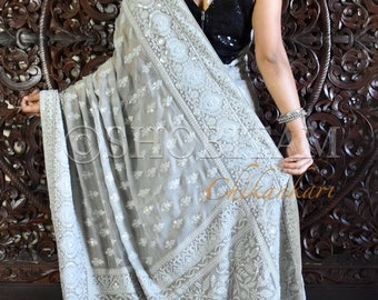 Gray Chikankari Saree with sequins I Chikankari saree | chikankari with sequins | Shimmer georgette Saree | Shobitam Saree
