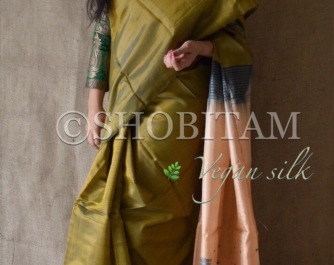 Vegan Silk Saree : Dual tone Green with beige-peach pallu. | Pretty Saree | Shobitam Saree