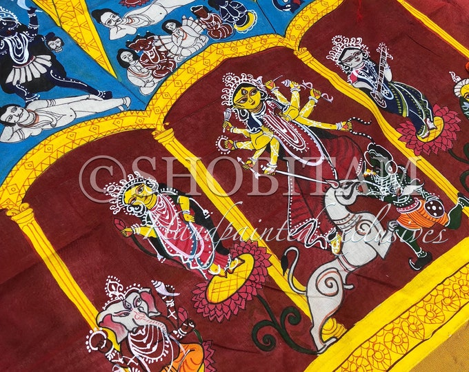 Cotton Handpainted Saree in white and red I Pujo Saree | Bengali Saree | Shobitam Saree