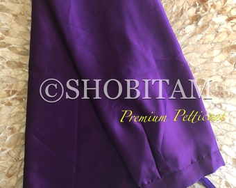 Premium Quality purple Satin Petticoat for saree, in standard size.