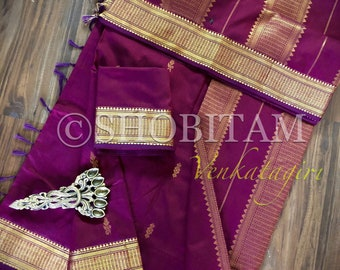 Maroon Venkatagiri Cotton Silk Saree  | Pretty Saree | Shobitam Saree