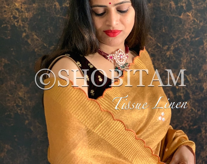 Signature Saree Scalloped -Copper Tissue Linen Saree  Evening Wear Sari   Pretty  Bollywood Saree   Shobitam Saree