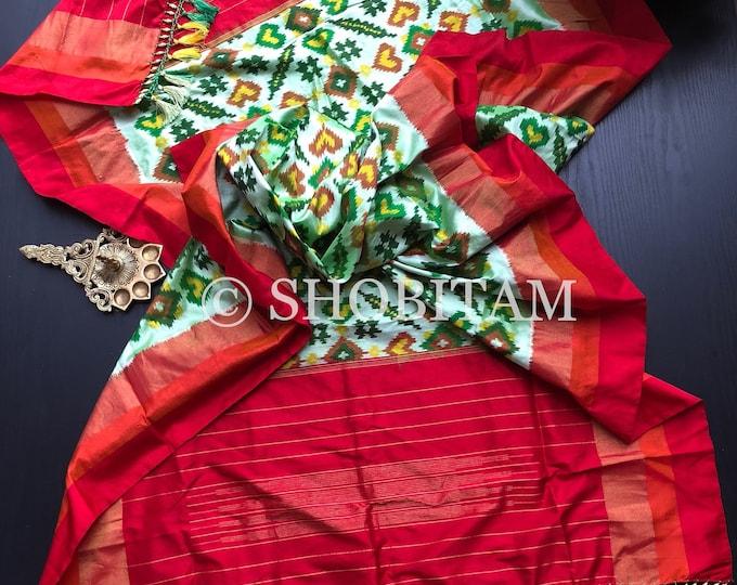 Pure Silk Dupatta in frosted pista green  and red Ikkat weave | SILK MARK CERTIFIED Ikkat Dupatta | Pochampalli Dupatta | Shobitam Dupatta