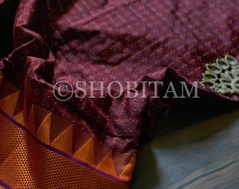 Handloom Saree : Saree  in Maroon with orange white cross stitch weaving and temple border | Shobitam Saree