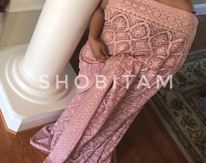 Stunning Dusty Rose/ Pink Chikankari Saree with full work and sequins   Full Heavy work and Satin patti Chikankari Saree   Shobitam Saree