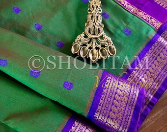Green with Purple Venkatagiri Cotton Silk Saree  | Pretty Saree | Shobitam Saree