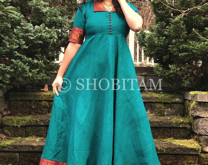 Rama Green with Maroon Zari Cotton Gown| Trendy Indian dress | Indian gown | Shobitam Gown