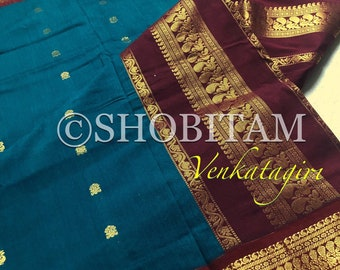 Rama Green Venkatagiri Cotton Silk Saree  | Pretty Saree | Shobitam Saree