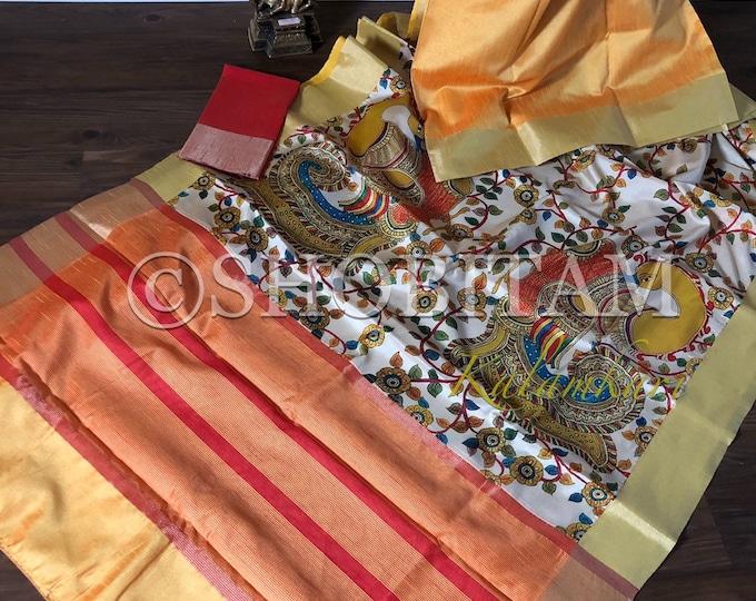 Kalamkari Saree in Dual tone yellow res Art Silk I Digital  Kalamkari Half and Half Saree I  Designer saree I Digital Printed Saree Designs