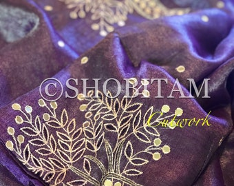 Cutwork and Embroidery purple silver tissue Linen Saree| Evening Wear Sari | Cutwork saree | Shobitam Saree