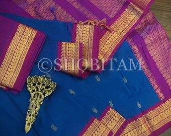 MS blue and Pink Venkatagiri Cotton Silk Saree  | Pretty Saree | Shobitam Saree