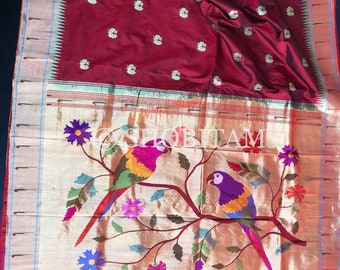 Pure  Paithani Premium Quality handloom Silk Saree | Paithani Saree with Muniya motifs | SILK MARK CERTIFIED  | Shobitam  Saree