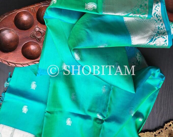 Beautiful Kanchipuram Silk Saree in Green-Turquoise Dual tone with silver tone zari   SILK MARK CERTIFIED   Shobitam Saree
