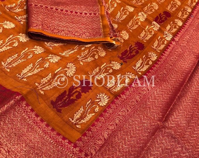Rust color Kalamkari Saree - Kanchi Border | Statement  Saree | Fancy Floral Saree | Shobitam  Saree
