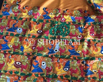 Patachitra extensive Handpainted Silk Saree | SILK MARK CERTIFIED Statement Handpainted Saree  | Handpainted Saree | Shobitam Saree