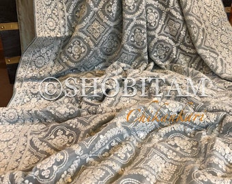 Stunning Gray Chikankari Saree with full work and sequins | Full Heavy work and Satin patti Chikankari Saree | Shobitam Saree