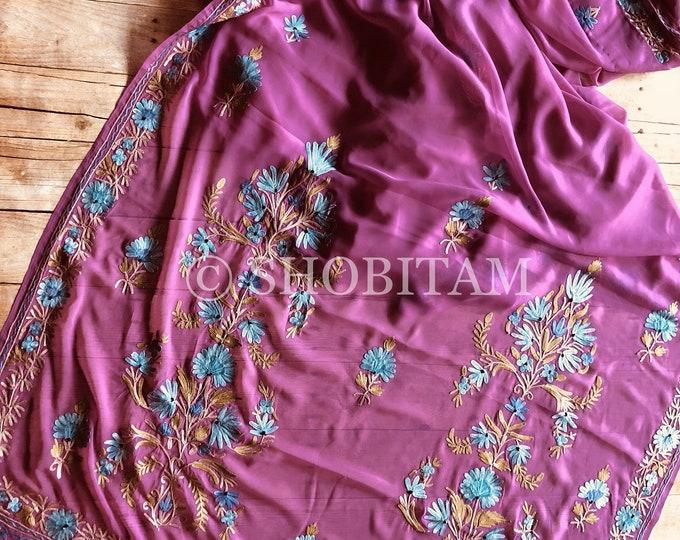 Lilac Kashmiri Saree with  aari work. Embroidery saree | Georgette Saree | Shobitam Saree