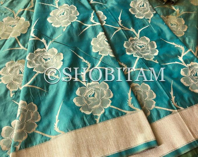 Dual tone green yellow dual tone Banarasi saree - Festival Wear Wedding Saree. Beautiful Dupion Silk Saree!