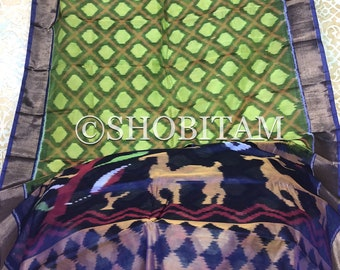Ikkat Silk Cotton Saree I pochampally saree  | Lime green with Purple Border Woven Saree   | Pretty Sari! | Handmade Saree