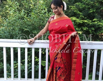 Grand red  Mekhela Chador  | Assamese style saree | Stylish dress | Designer handloom saree!