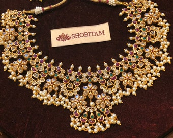 Guttapusalu Necklace Set  -  Studded necklace and Earrings set with pearls hanging  I  Gorgeous premium quality set | Shobitam jewelry