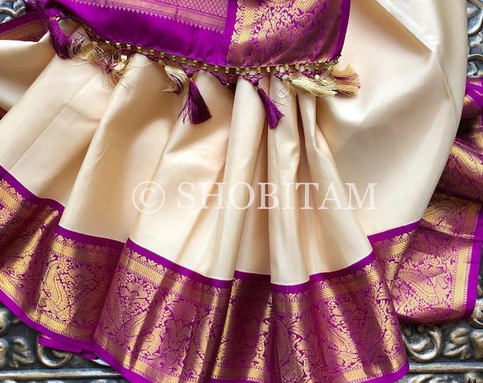 Elegant Pure Silk Kanjeevaram  Saree in off white/beige with Magenta  borders   SILK MARK CERTIFIED   Shobitam Saree