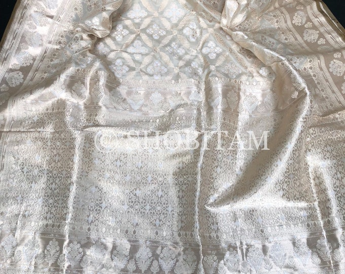 Designer Banarasi Saree in Pure Katan by Katan handloom in Ivory with Sona Rupa Jaal | SILK MARK CERTIFIED | Shobitam Saree