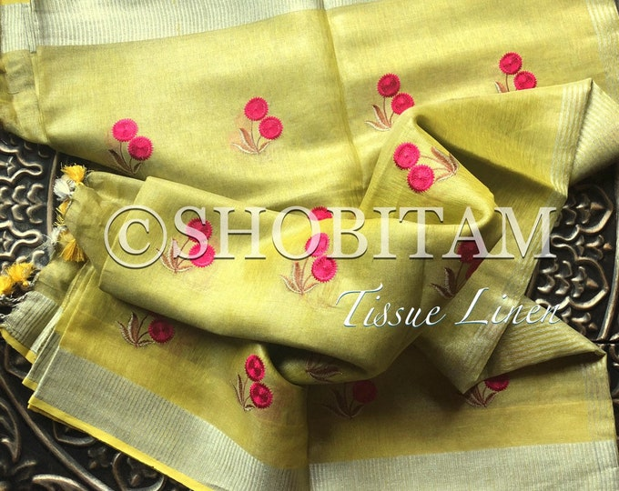 Linen Tissue Saree - light green yellow embroidery saree border   Organic Linen by Linen  Saree I FREE SHIPPING in USA