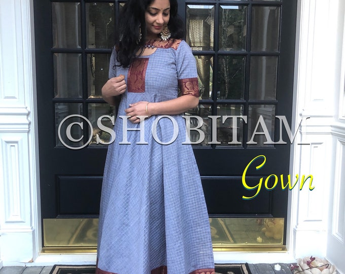 Size 36: Sungdi Gown - gray and maroon Indian cotton gown with contrast border and zari work | Indian dress | Beautiful gown