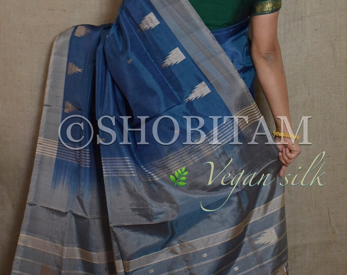 Vegan Silk Saree in dark blue ! Pretty Sari!