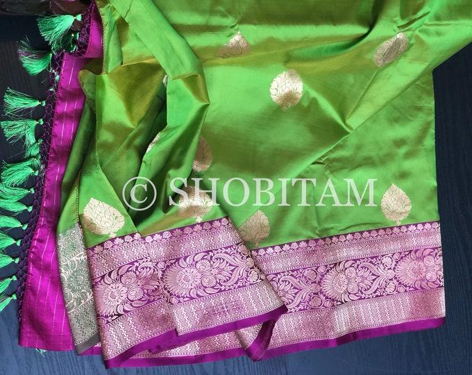 Katan Silk Saree in Bright Peridot Green Dual Tone | Banarasi Saree | SILK MARK CERTIFIED Saree | Shobitam Saree