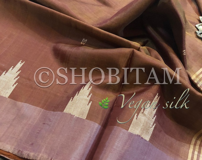 Vegan Silk Saree : Dual tone honey pink with pale pink Pallu | Pretty Saree | Shobitam Saree