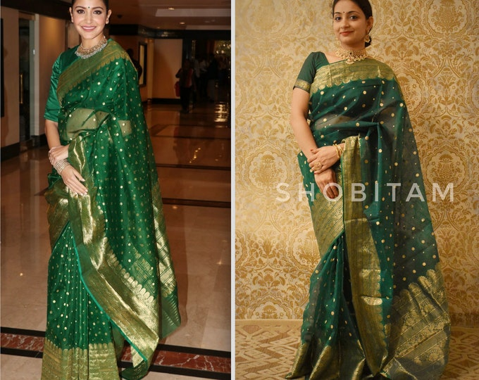 Anushka Sharma Chanderi Silk Saree | Original Pure Anushka Sharma Saree in Katan Silk I Bollywood Saree I Exclusive Statement Sari!