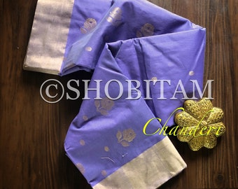 Chanderi Saree in Cotton Silk. Lavender Saree | Pretty Saree | Shobitam Saree