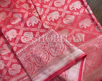 Peach Pink full zari weave Art Silk Saree | pink and muted silver Saree | Shobitam Saree